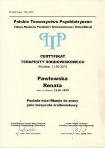 Certyfikat terapeuty środowiskowego