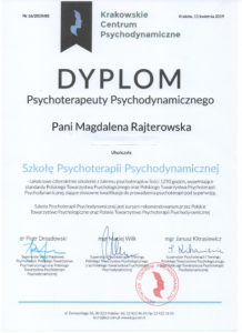 Psychoterapeuta dynamiczny dyplom