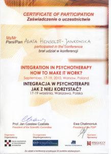 Psycholog certyfikat