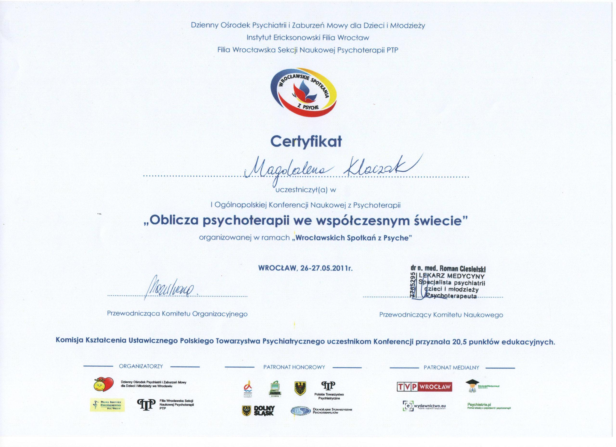 Oblicza psychoterapii we współczesnym świecie