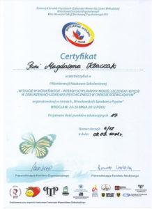 Psycholog certyfikat leczenia