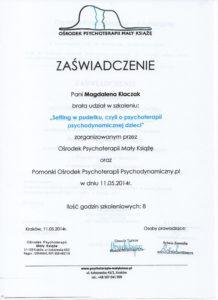 Psychoterapeuta zaświadczenie