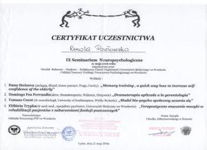 Psycholog Certyfikat z seminarium neuropsychologicznego