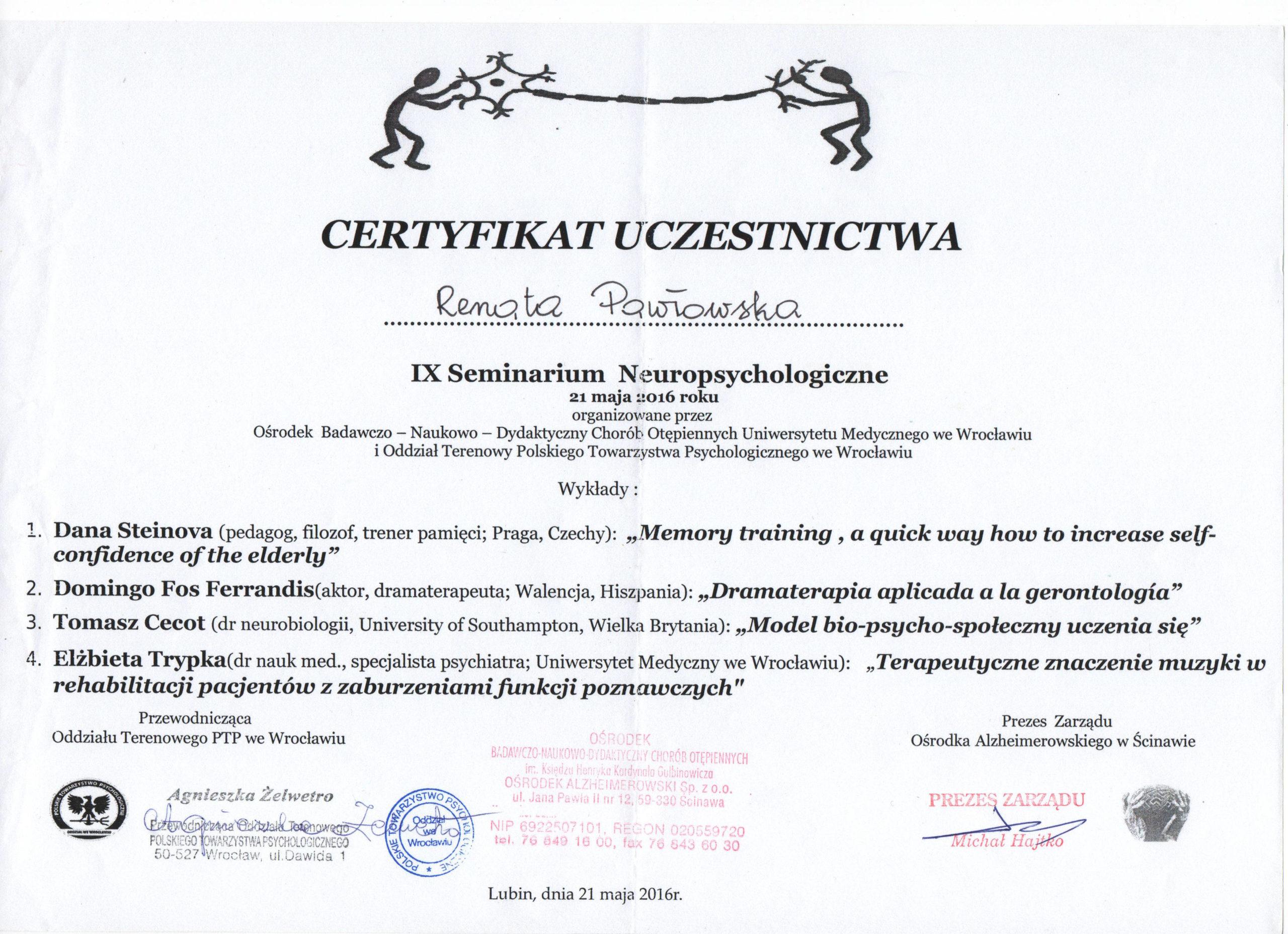 IX Seminarium neuropsychologiczne