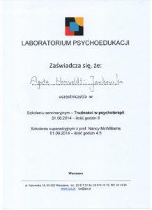 certyfikat psycholog