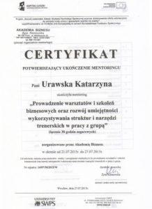 Certyfikat mentoring Psycholog