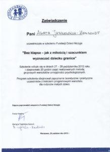 certyfikat dla psychologa