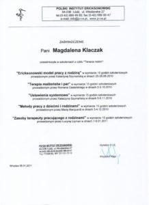 Certyfikat z terapii rodzin