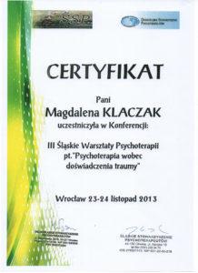 Psycholog psychoterapia traumy