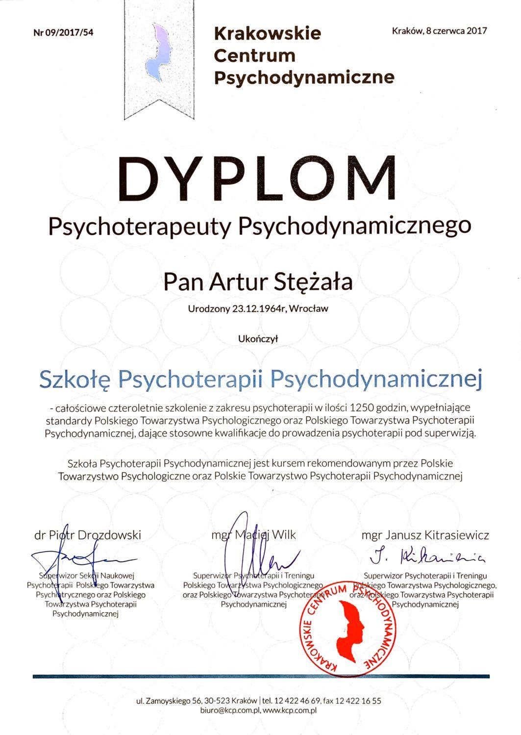 Szkoła Psychoterapii Psychodynamicznej - dyplom