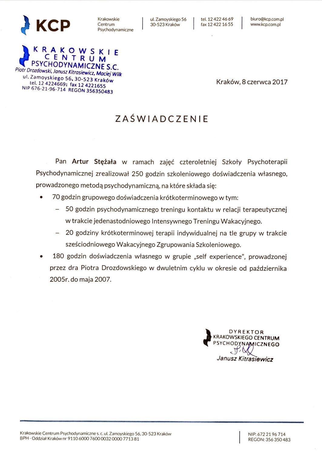 Szkoła Psychoterapii Psychodynamicznej - zaświadczenie