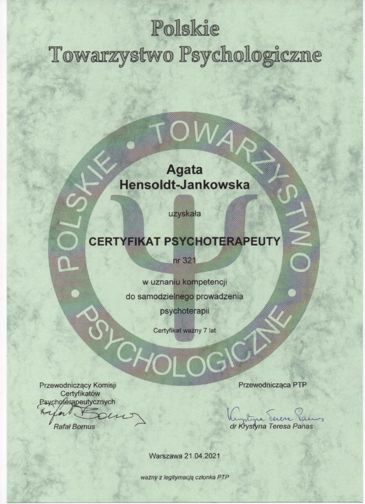 Cetyfikat psychoterapeuty